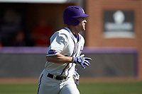 Jordan Sergent (9) of the High Point Panthers hustles down the first base line against the NJIT Highlanders at Williard Stadium on February 19, 2017 in High Point, North Carolina. The Panthers defeated the Highlanders 6-5. (Brian Westerholt/Four Seam Images)