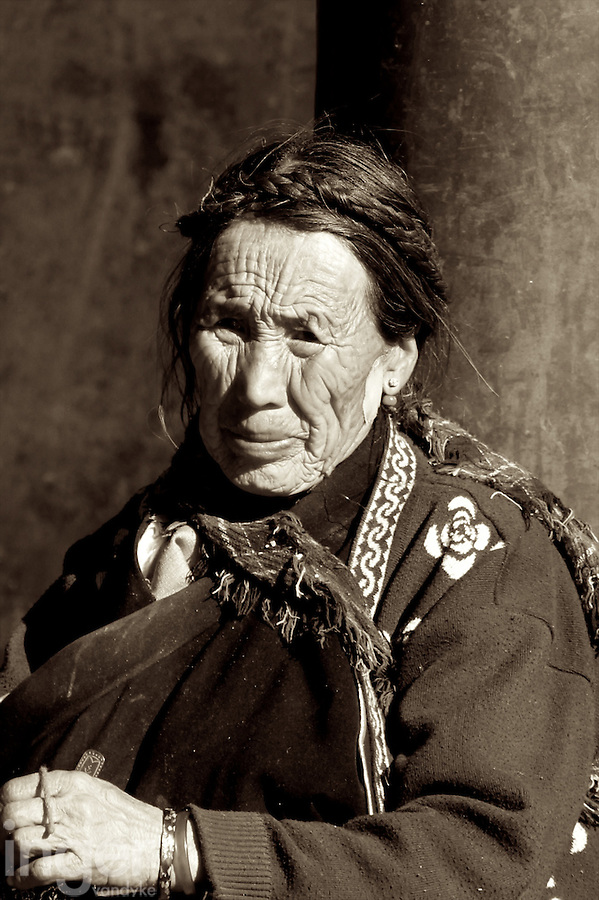 Old Woman at Gyantse Kumbum in Tibet