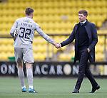 16.08.2020 Livingston v Rangers: Steven Gerrard congratulates Livingston keeper Maksymilian Stryjek