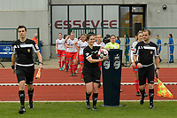 referee Irmgard Van Meirvenne (M) with assistant rereees Glenn Lakiere (L) and Toon Bonduel (R) pictured during a female soccer game between SV Zulte - Waregem and KRC Genk on the 8 th matchday of the 2020 - 2021 season of Belgian Scooore Women s SuperLeague , saturday 21 th of November 2020  in Zulte , Belgium . PHOTO SPORTPIX.BE   SPP   DIRK VUYLSTEKE