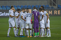 SAN JOSE, CA - SEPTEMBER 13: L.A. Galaxy team huddle during a game between Los Angeles Galaxy and San Jose Earthquakes at Earthquakes Stadium on September 13, 2020 in San Jose, California.