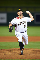 Salt River Rafters pitcher Jared Miller (98), of the Arizona Diamondbacks organization, during a game against the Peoria Javelinas on October 11, 2016 at Salt River Fields at Talking Stick in Scottsdale, Arizona.  The game ended in a 7-7 tie after eleven innings.  (Mike Janes/Four Seam Images)