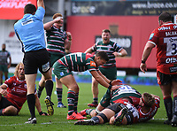30th August 2020; Kingsholm Stadium, Gloucester, Gloucestershire, England; English Premiership Rugby, Gloucester versus Leicester Tigers; Ben Youngs of Leicester Tigers congratulates Cameron Henderson on scoring a try