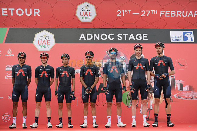 Ineos Grenadiers at sign on before the start of Stage 1 of the 2021 UAE Tour the ADNOC Stage running 176km from Al Dhafra Castle to Al Mirfa, Abu Dhabi, UAE. 21st February 2021.  <br /> Picture: LaPresse/Fabio Ferrari | Cyclefile<br /> <br /> All photos usage must carry mandatory copyright credit (© Cyclefile | LaPresse/Fabio Ferrari)