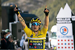 Yellow Jersey race leader Primoz Roglic (SLO) Team Jumbo-Visma snatches victory within metres of the finish line on La Colmaine during Stage 7 of Paris-Nice 2021, running 119.2km from Le Broc to Valdeblore La Colmiane, France. 13th March 2021.<br /> Picture: ASO/Fabien Boukla | Cyclefile<br /> <br /> All photos usage must carry mandatory copyright credit (© Cyclefile | ASO/Fabien Boukla)