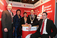 NO FEE PICTURES.25/1/13 Maureen Ledwith, Director Holiday World, Lord Mayor of Dublin is Naoise Ó Muirí and Clare Dunne, President ITAA with Brian McDonald and Tim Redmond, Canada Life at the Holiday World Show at the RDS, Dublin. Picture:Arthur Carron/Collins