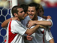 17 April 2004: Ben Olsen celebrates with Dema Kovalenko after Olsen scored the first goal during the first half of the game against MetroStars at Giants' Stadium in East Rutherford, New Jersey.   MetroStars defeated DC United, 3-2.