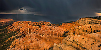 904000029 panoramic view of a summer monsoon thunderstorm with heavy rain and lightning over the hoodoos at bryce point in bryce canyon national park utah