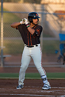 AZL Giants Black third baseman David Villar (9) at bat during an Arizona League game against the AZL Athletics at the San Francisco Giants Training Complex on June 19, 2018 in Scottsdale, Arizona. AZL Athletics defeated AZL Giants Black 8-3. (Zachary Lucy/Four Seam Images)