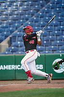 Houston Cougars (40) Ryan Hernandez hits a home run during a game against the Tulane Green Wave on May 25, 2021 at BayCare Ballpark in Clearwater, Florida.  Tulane defeated Houston 4-1 in the opening game of the American Athletic Conference Tournament.  (Mike Janes/Four Seam Images)