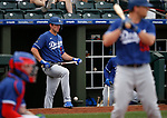 DJ Peters waits on deck during a spring training game between the Texas Rangers and Los Angeles Dodgers in Surprise, Ariz., on Sunday, March 7, 2021.<br /> Photo by Cathleen Allison