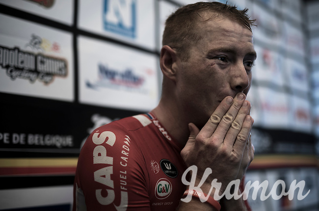 Pim Ligthart (NED/Lotto-Soudal) post-race in the media-tent after finishing 2nd in the 50th GP Jef Scherens - Leuven 2016