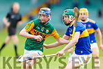 Kerry's Rory O'Mahony tries to get past Tipperarys Darragh Stakelum in the Munster Minor Hurling Championship