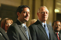 Montreal (Qc) CANADA - 2011 File Photo -<br /> Michael Applebaum<br /> (L), Gerald Tremblay (R) - Michael Applebaum is one of the possible replacement of Mayor Gerald Tremblay who resigned November 5, 2012.