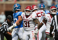 Arkansas linebacker Grant Morgan (31) reacts, Saturday, October 9, 2021 during the third quarter of a football game at Vaught Hemingway Stadium in Oxford, Miss. Check out nwaonline.com/211010Daily/ for today's photo gallery. <br /> (NWA Democrat-Gazette/Charlie Kaijo)
