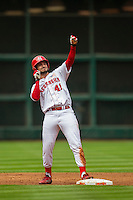 Nebraska Cornhuskers outfielder Austin Darby (41) celebrates at second base after doubling during the NCAA baseball game against the Hawaii Rainbow Warriors on March 7, 2015 at the Houston College Classic held at Minute Maid Park in Houston, Texas. Nebraska defeated Hawaii 4-3. (Andrew Woolley/Four Seam Images)
