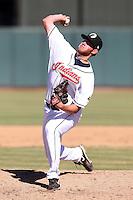 Phoenix Solar Sox pitcher Preston Guilmet #46 during an Arizona Fall League game against the Mesa Solar Sox at Phoenix Municipal Stadium on October 31, 2011 in Phoenix, Arizona.  Mesa defeated Phoenix 3-1.  (Mike Janes/Four Seam Images)