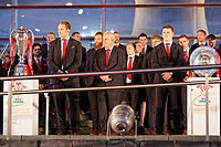 (L-R) Captain Alun Wyn Jones, head coach Warren Gatland and Jonathan Davies stand by the trophies during the Celebration for Wales Six Nations Win at the National Assembly for Wales, Cardiff Bay, Wales, UK. Monday 18 March 2019