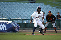 Mylz Jones (13) of the Lancaster JetHawks leads off of third base during a game against the San Jose Giants at The Hanger on April 10, 2017 in Lancaster, California. Lancaster defeated San Jose 11-7. (Larry Goren/Four Seam Images)