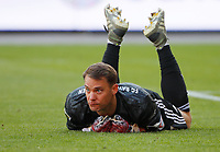 17th May 2020,Stadion An der Alten Försterei, Berlin, Germany; Bundesliga football, FC Union Berlin versus Bayern Munich;  Goalkeeper Manuel Neuer from Bayern  makes a save from a difficult crossed ball and watches the play