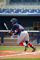 GCL Red Sox shortstop Yomar Valentin (46) at bat during the second game of a doubleheader against the GCL Rays on August 4, 2015 at Charlotte Sports Park in Port Charlotte, Florida.  GCL Red Sox defeated the GCL Rays 2-1.  (Mike Janes/Four Seam Images)