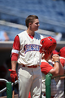 Clearwater Threshers center fielder Mickey Moniak (2) on deck during a game against the Jupiter Hammerheads on April 11, 2018 at Spectrum Field in Clearwater, Florida.  Jupiter defeated Clearwater 6-4.  (Mike Janes/Four Seam Images)