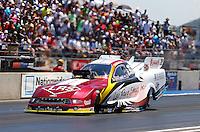 Jul. 21, 2013; Morrison, CO, USA: NHRA funny car driver Tim Wilkerson during the Mile High Nationals at Bandimere Speedway. Mandatory Credit: Mark J. Rebilas-