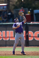 LSU Tigers first baseman Drew Bianco (5) settles under a pop fly during the game against the Georgia Bulldogs at Foley Field on March 23, 2019 in Athens, Georgia. The Bulldogs defeated the Tigers 2-0. (Brian Westerholt/Four Seam Images)