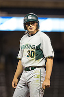 Cam Gibson (30) of the Michigan State Spartans looks on during a 2015 Big Ten Conference Tournament game between the Maryland Terrapins and Michigan State Spartans at Target Field on May 20, 2015 in Minneapolis, Minnesota. (Brace Hemmelgarn/Four Seam Images)