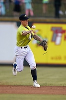 Second baseman Chandler Avant (3) of the Columbia Fireflies plays defense in a game against the Charleston RiverDogs on Saturday, April 6, 2019, at Segra Park in Columbia, South Carolina. Columbia won, 3-2. (Tom Priddy/Four Seam Images)