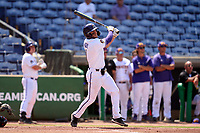 East Carolina Pirates Connor Norby (1) hits a home run during a game against the Cincinnati Bearcats on May 26, 2021 at BayCare Ballpark in Clearwater, Florida.  (Mike Janes/Four Seam Images)
