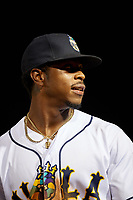 New Orleans Baby Cakes Monte Harrison (3) during a Pacific Coast League game against the Oklahoma City Dodgers on May 6, 2019 at Shrine on Airline in New Orleans, Louisiana.  New Orleans defeated Oklahoma City 4-0.  (Mike Janes/Four Seam Images)