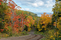 Exploring the Keweenaw Peninsula on a beautiful fall day with bright autumn colors. Lake Superior visible in the distance.