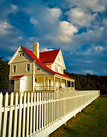 F00073M.tif   Heceta House with white picket fence. Devil's Elbow State Park, Oregon