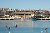 """Im Hafen der Sizilianischen Kleinstadt Porto Empedocle wurden die Rettungsschiffe """"Sea-Watch 3"""" und """"Ocean Viking"""" der privaten Seenotrettungsorganisationen Sea-Watch und SOS Mediterranee, von der italienische Küstenwache im Juli 2020 festgesetzt. Zuvor hatten die Organisationen mit den beiden Schiffen mehrere hundert Menschen vor der libyschen Kueste aus Seenot gerettet. Die italienischen Behoerden versuchen mit der offiziellen Begruendung, """"Sicherheitsmaengel"""", weitere Rettungseinsaetze zu blockieren.<br /> Im Bild: <br /> 25.7.2020, Porto Empedocle<br /> Copyright: Christian-Ditsch.de<br /> NUR FUER REDAKTIONELLE ZWECKE! Werbung nur auf Anfrage beim Fotografen. [Inhaltsveraendernde Manipulation des Fotos nur nach ausdruecklicher Genehmigung des Fotografen. Vereinbarungen ueber Abtretung von Persoenlichkeitsrechten/Model Release der abgebildeten Person/Personen liegen nicht vor. NO MODEL RELEASE! Don't publish without copyright Christian-Ditsch.de, Veroeffentlichung nur mit Fotografennennung, sowie gegen Honorar, MwSt. und Beleg. Konto: I N G - D i B a, IBAN DE58500105175400192269, BIC INGDDEFFXXX, Kontakt: post@christian-ditsch.de<br /> Bei der Bearbeitung der Dateiinformationen darf die Urheberkennzeichnung in den EXIF- und  IPTC-Daten nicht entfernt werden, diese sind in digitalen Medien nach §95c UrhG rechtlich geschuetzt. Der Urhebervermerk wird gemaess §13 UrhG verlangt.]"""