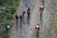 Kids cheering the Trek-Segafredo riders on during their 2017 Paris-Roubaix recon over the infamous Bois de Wallers/ Trouée d'Arenberg section, 3 days prior to the event.
