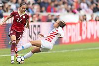 Houston, TX - Sunday April 08, 2018: Greta Espinoza, Mallory Pugh during an International Friendly soccer match between the USWNT and Mexico at BBVA Compass Stadium.