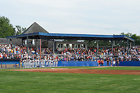 National anthem before a Batavia Muckdogs game against the Mahoning Valley Scrappers on July 3, 2015 at Dwyer Stadium in Batavia, New York.  Batavia defeated Mahoning Valley 7-4.  (Mike Janes/Four Seam Images)