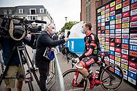 Laurens Sweeck (BEL/Pauwels Sauzen-Bingoal) interviewed at the start<br /> <br /> Heylen Vastgoed Heistse Pijl 2021 (BEL)<br /> One day race from Vosselaar to Heist-op-den-Berg (BEL/193km)<br /> <br /> ©kramon