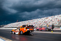 Jul 11, 2020; Clermont, Indiana, USA; NHRA funny car driver Blake Alexander (near) alongside Cruz Pedregon during qualifying for the E3 Spark Plugs Nationals at Lucas Oil Raceway. This is the first race back for NHRA since the start of the COVID-19 global pandemic. Mandatory Credit: Mark J. Rebilas-USA TODAY Sports