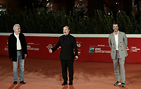 "From left: Spanish director Fernando Trueba, Spanish actor Javier Camara and Italian producer Andrea Occhipinti pose on the red carpet for the screening of the film ""El olvido que seremos"" during the 15th Rome Film Festival (Festa del Cinema di Roma) at the Auditorium Parco della Musica in Rome on October 22, 2020.<br /> UPDATE IMAGES PRESS/Isabella Bonotto"