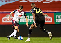 Bolton Wanderers' Shaun Miller competing with Newcastle United U21's Ludwig Francillette (right) <br /> <br /> Photographer Andrew Kearns/CameraSport<br /> <br /> EFL Papa John's Trophy - Northern Section - Group C - Bolton Wanderers v Newcastle United U21 - Tuesday 17th November 2020 - University of Bolton Stadium - Bolton<br />  <br /> World Copyright © 2020 CameraSport. All rights reserved. 43 Linden Ave. Countesthorpe. Leicester. England. LE8 5PG - Tel: +44 (0) 116 277 4147 - admin@camerasport.com - www.camerasport.com