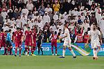 Almoez Ali of Qatar (C) celebrating his score during the AFC Asian Cup UAE 2019 Semi Finals match between Qatar (QAT) and United Arab Emirates (UAE) at Mohammed Bin Zaied Stadium  on 29 January 2019 in Abu Dhabi, United Arab Emirates. Photo by Marcio Rodrigo Machado / Power Sport Images