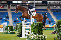 GBR-Kirsty Chabert rides Classic VI during the Jumping for the CCIO4*-S Eventing - SAP Cup. Interim-1st. 2021 GER-CHIO Aachen Weltfest des Pferdesports. Aachen, Germany. Friday 17 September. Copyright Photo: Libby Law Photography