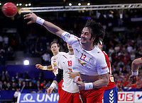 Spellerberg Bo of Denmark in action during men`s EHF EURO 2012 handball championship final game between Serbia and Denmark in Belgrade, Serbia, Sunday, January 29, 2011.  (photo: Pedja Milosavljevic / thepedja@gmail.com / +381641260959)