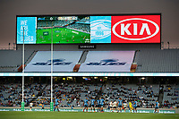 3rd April 2021; Eden Park, Auckland, New Zealand;  Signage and big screen during the Super Rugby Aotearoa rugby match between the Blues and the Hurricanes held at Eden Park, Auckland, New Zealand