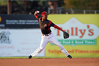 Batavia Muckdogs shortstop Marcos Rivera (8) throws to first base during a game against the Auburn Doubledays on August 26, 2017 at Dwyer Stadium in Batavia, New York.  Batavia defeated Auburn 5-4.  (Mike Janes/Four Seam Images)