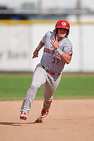 Greeneville Reds first baseman Rylan Thomas (37) runs the bases during the second game of a doubleheader against the Princeton Rays on July 25, 2018 at Hunnicutt Field in Princeton, West Virginia.  Greeneville defeated Princeton 8-7.  (Mike Janes/Four Seam Images)