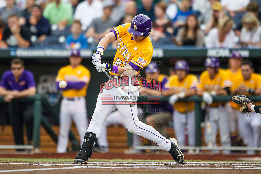 LSU Tigers outfielder Jake Fraley (23) swings the bat against the TCU Horned Frogs in Game 10 of the NCAA College World Series on June 18, 2015 at TD Ameritrade Park in Omaha, Nebraska. TCU defeated the Tigers 8-4, eliminating LSU from the tournament. (Andrew Woolley/Four Seam Images)