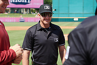 Umpire Justin Robinson before a Texas League game between the Springfield Cardinals and Frisco RoughRiders on May 5, 2019 at Dr Pepper Ballpark in Frisco, Texas.  (Mike Augustin/Four Seam Images)